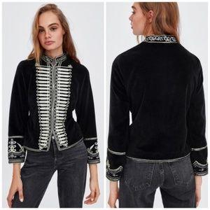 Zara Velvet Military Marching Band Jacket XS NWT